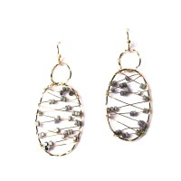 Metallic Gold Wire Silver Beads Oval Drop Earrings