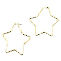 Jumbo Star Gold Hoop Statement Earrings