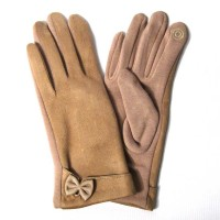 Gorgeous Tan Knit Bow Cuff Gloves