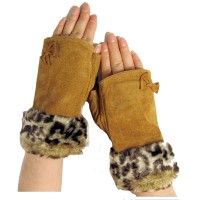 Animal Fur Bow Suede Fingerless Gloves