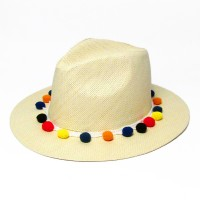 Fiesta Multi Color Pom Pom Trim Light raw Fedora Hat
