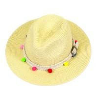 Pom Pom Braided Buckle Trim Straw Fedora Hat
