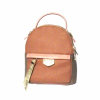 Tri-Color Pink Beige Strap Leather Backpack Bag