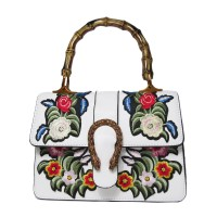 WHITE MULTI COLOR FLORAL EMBROIDERY BAMBOO TOP HANDLE SATCHEL BAG