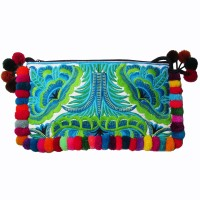 Colorful Boho Turquoise Floral Embroidery Pom Pom Clutch Bag