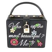 Designer Inspired Stunning Black Multi Crystal Floral Top Handle Case Bag