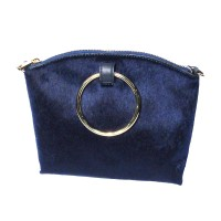 Glamorous Blue Calf Hair Bracelet Ring Handle Tote Handbag