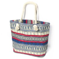 Red Blue Boho Print Canvas Tote