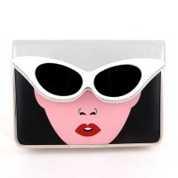 Designer Inspired Silver Leatherette Fashion Lady Sunglass Clutch Bag