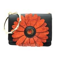 Floral Applique Black Bracelet Handle Clutch Shoulder Bag