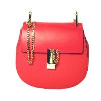 Clasp Genuine Leather Chain Crossbody Handbag