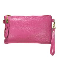 Stylish Fuchsia Pink Genuine Leather Tassel Wristlet Chain Clutch Bag