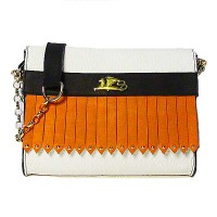 Griffo Handcrafted Orange & White Fringe Studded Leather Clutch