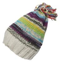 Nepal 100% Wool Hand Knit Multi Gray Pom Pom Beanie