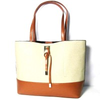 Stylish Natural Linen Camel Trim Two in One Handbag Tote
