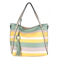 Multi Mint Stripe Tassel Tote Bag