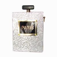Silver Paris Perfume Bottle Clutch Purse Case Handbag