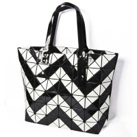 Glossy Black And White Chevron Stripes Prism Bag
