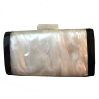 Lustrous Mother of Pearl Black Resin Edge Clutch Case Handbag