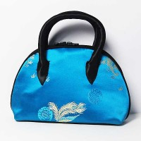 Handmade Blue Silk Brocade Satchel