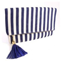 Blue White Stripe Envelope Clutch Handbag