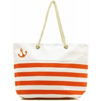 Oversized Coral Stripe Canvas Tote