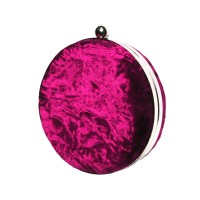 Gorgeous Round Burgundy Plush Velvet Clutch Shoulder Handbag