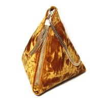 Gorgeous Marigold Plush Velvet Prism Chain Tassel Wristlet Bag