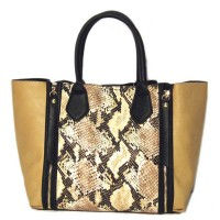 Stylish Brown Python Two In One Tote Satchel Bag