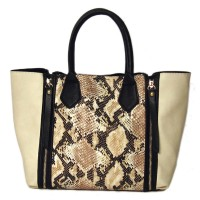 STYLISH CREAM PYTHON TWO IN ONE TOTE SATCHEL BAG
