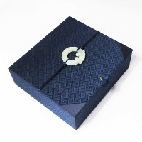 Vintage Navy Blue Silk Brocade Scholarly Jade Pendant Box