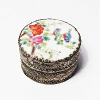Tibetan Hand Painted Round Bird and Floral Porcelain Silver Jewelry Box