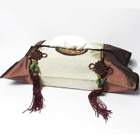 Classy Beige Bronzy Brown Silk Brocade Tassel Tissue Box Cover