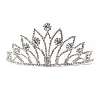 New Glitter Regal Clear Rhinestone Scroll Crown Tiara