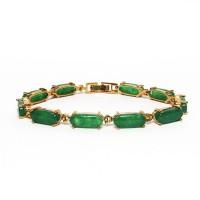 Modern 10k Gold Green Link Jade Bracelet