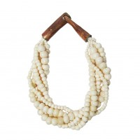 Handcrafted Multi-Strand White Genuine Bone Bead Necklace