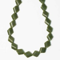 Genuine Olive Green Jade Diamond Shape Necklace