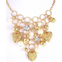 Filigree Heart & Pearl Drop Necklace
