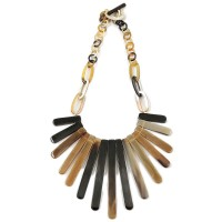 Genuine Natural Horn Fringe Collar Link Statement Necklace