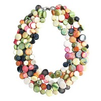 Multi Color 6 Strands Of Mother Of Pearl Coin Disc Necklace