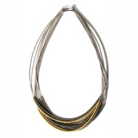 Stylish  Handcrafted Multi Strand 3 Tone Silver Piano Wire Necklace