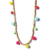 Multi Color Pom Pom Wood Beads Statement Necklace