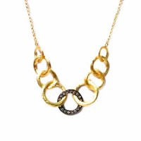 Gorgeous Brushed Gold Ring Rhinestone Chain Link Necklace