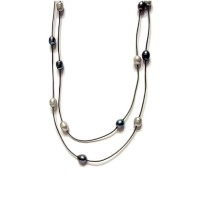 Long Fresh Water Pearl Leather Cord Necklace