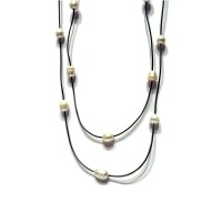 White Fresh Water Pearl Gray Leather Cord Necklace