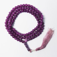 Genuine Lavender Agate Buddha Bead Tassel Long Necklace