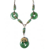 Tibetan Apple Green Jade Disk Silver Dangling Necklace