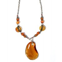 Amber Brown Sardonyx Disk Silver Pendant Necklace