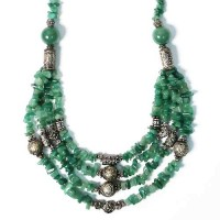 Multi Strand Aventurine Beads Tibetan Silver Necklace