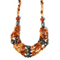 Multi Strand Carnelian Beads Tibetan Silver Necklace